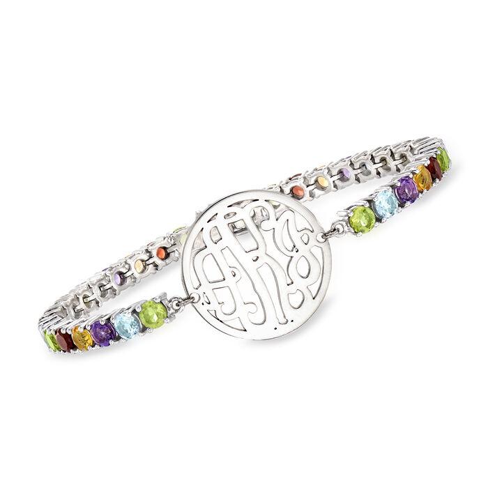 7.00 ct. t.w. Multi-Gemstone Bracelet with Framed Monogram in Sterling Silver