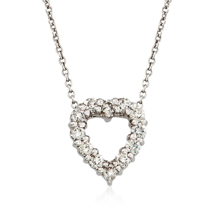 """Roberto Coin """"Tiny Treasures"""" .26 ct. t.w. Diamond Heart Necklace in 18kt White Gold"""