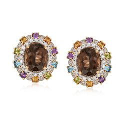5.50 ct. t.w. Smoky Quartz and 2.10 ct. t.w. Multi-Stone Earrings With Diamonds in 14kt Yellow Gold, , default