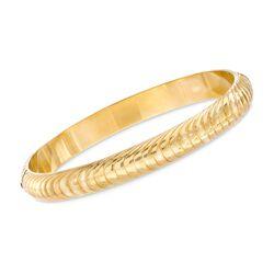 """C. 1990 Vintage 18kt Yellow Gold Ribbed Bangle Bracelet. 7.5"""", , default"""