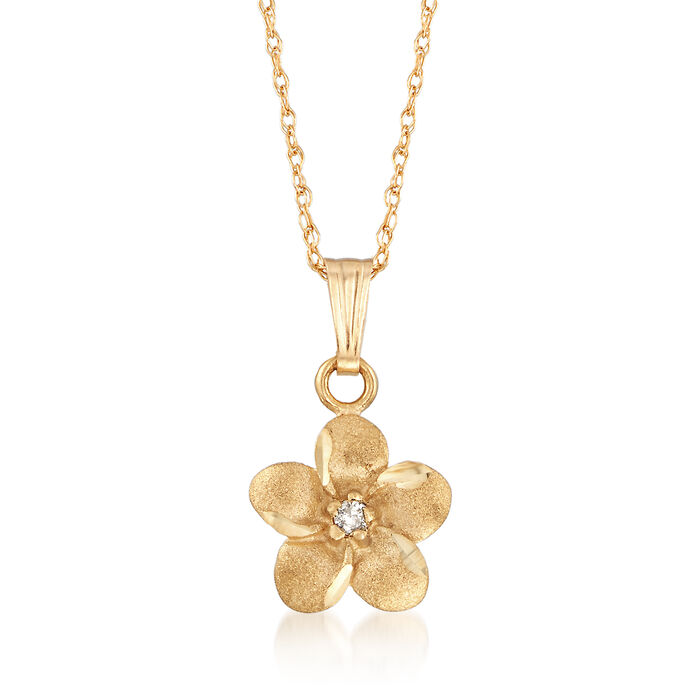 """Child's Diamond Accent Flower Pendant Necklace in 14kt Yellow Gold. 15"""", , default"""