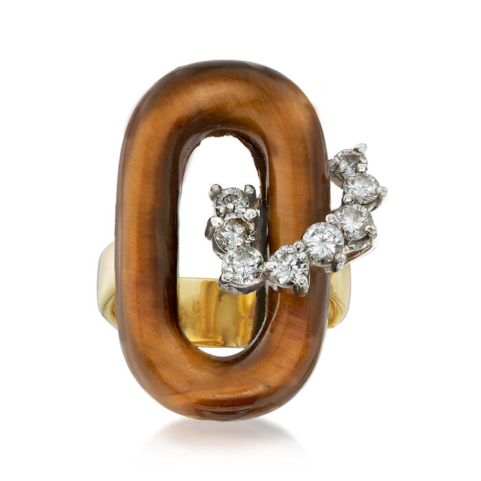 C. 1970 Vintage Tiger's Eye and .65 ct. t.w. Diamond Ring in 18kt Yellow Gold. Size 6, , default