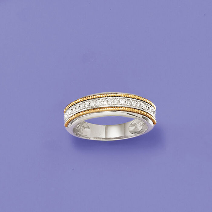.25 ct. t.w. Diamond Two-Tone Ring in Sterling and 14kt Yellow Gold
