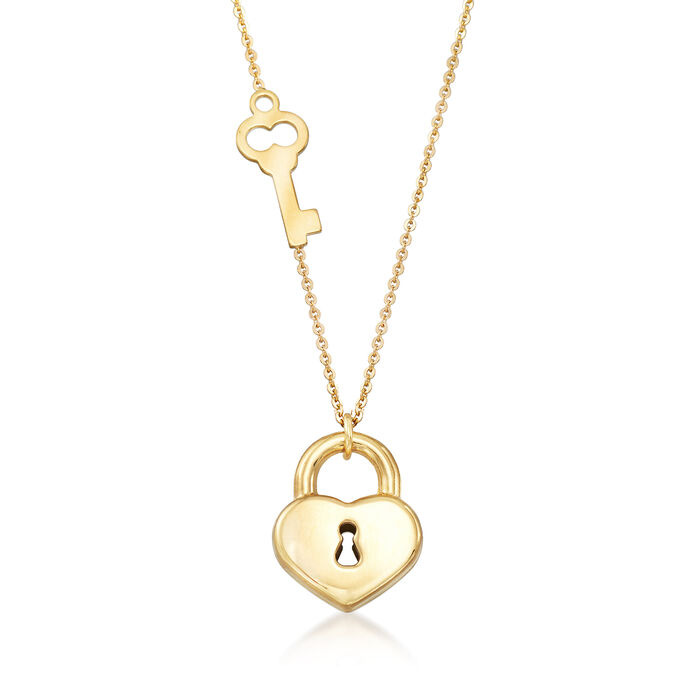 Italian 18kt Yellow Gold Key and Locked Heart Pendant Necklace