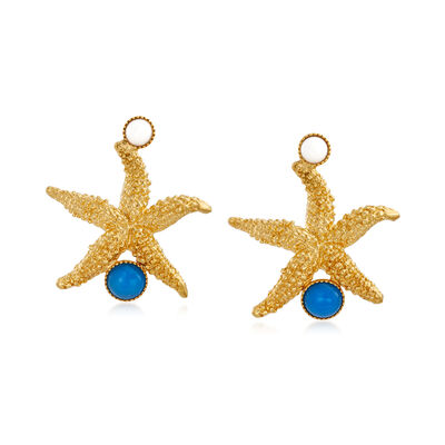 Italian Blue and White Agate Starfish Earrings in 18kt Gold Over Sterling