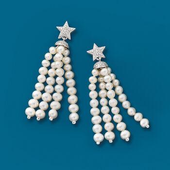 3-4.5mm Cultured Pearl Tassel and .15 ct. t.w. Diamond Star Drop Earrings in Sterling Silver, , default