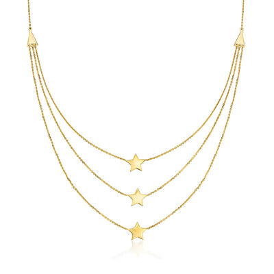 14kt Yellow Gold Triple-Strand Star Necklace, , default