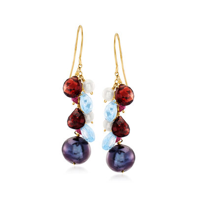 4-9mm Cultured Pearl, 5.40 ct. t.w. Garnet and 4.50 ct. t.w. Sky Blue Topaz Drop Earrings in 14kt Yellow Gold , , default
