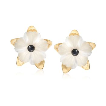 Italian 40.00 ct. t.w. White Quartz Flower Earrings With Black Spinels in 18kt Gold Over Sterling, , default