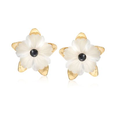 Italian 40.00 ct. t.w. White Quartz Flower Earrings With Black Spinels in 18kt Gold Over Sterling From Italy, , default