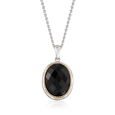 Black Onyx Pendant Necklace in 14kt Yellow Gold and Sterling Silver, , default