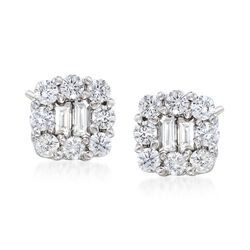 .39 ct. t.w. Diamond Square Stud Earring in 14kt White Gold, , default