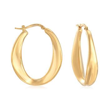 "Italian 18kt Gold Over Sterling Oval Hoop Earrings. 1 1/2"", , default"
