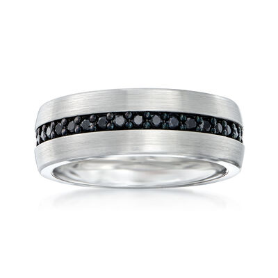 Men's 1.00 ct. t.w. Black Sapphire Eternity Wedding Ring in Tungsten Carbide, , default