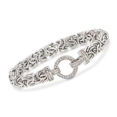 .30 ct. t.w. Diamond and Sterling Silver Byzantine Bracelet