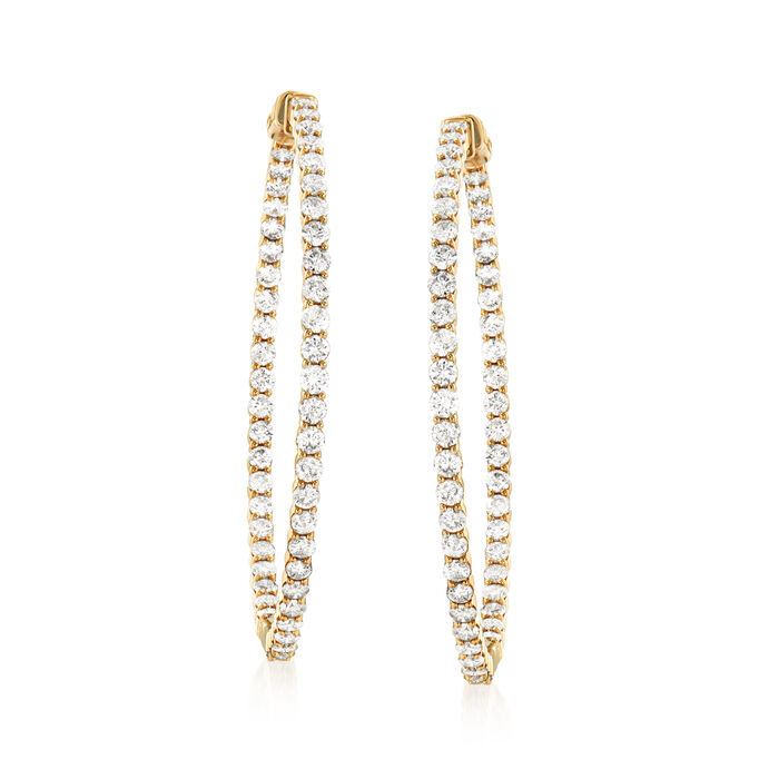 6.50 ct. t.w. Diamond Inside-Outside Hoop Earrings in 14kt Yellow Gold