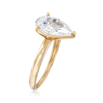 3.00 Carat Pear-Shaped CZ Solitaire Ring in 14kt Yellow Gold, , default