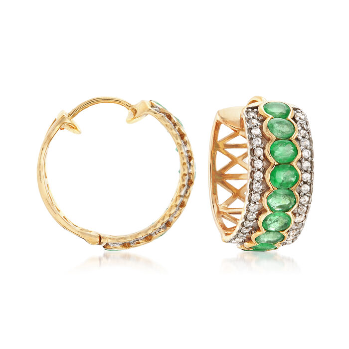 """3.00 ct. t.w. Emerald and .60 ct. t.w. White Zircon Hoop Earrings in 18kt Gold Over Sterling. 3/4"""", , default"""