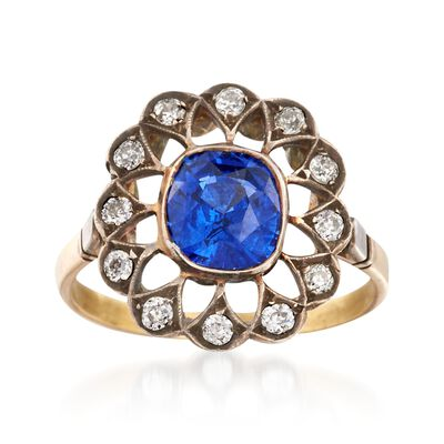C. 1900 Vintage 2.03 Carat Sapphire and .30 ct. t.w. Diamond Ring in Sterling Silver and 14kt Yellow Gold, , default