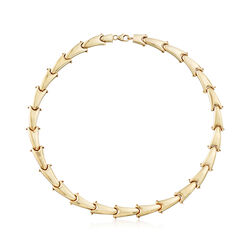 """Italian 14kt Yellow Gold Tooth-Link Collar Necklace. 16"""", , default"""