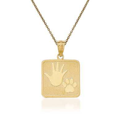 14kt Yellow Gold Pup and Me Square Pendant Necklace, , default