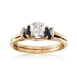 C. 1990 Vintage .50 Carat Diamond Ring With Sapphire and Diamond Accents in 14kt Yellow Gold. Size 8, , default