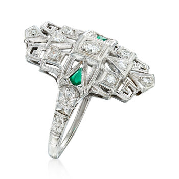 C. 1950 Vintage .25 ct. t.w. Diamond Dinner Ring with Emerald Accents in 18kt White Gold. Size 7.5