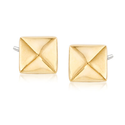 Small Pyramid Stud Earrings in Gold-Tone Metal, , default