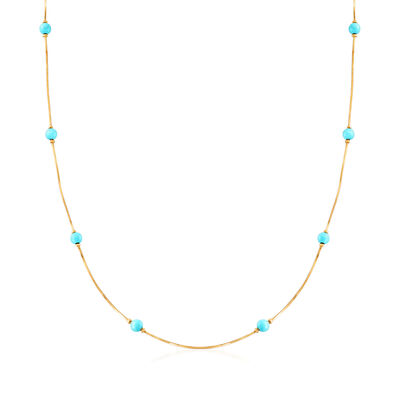 C. 1980 Vintage 4mm Turquoise Bead Station Necklace in 18kt Yellow Gold, , default