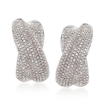 1.00 ct. t.w. Pave Diamond Crisscross J-Hoop Earrings in Sterling Silver, , default