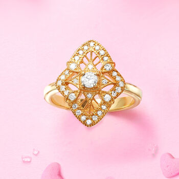 .49 ct. t.w. Diamond Openwork Ring in 18kt Gold Over Sterling, , default