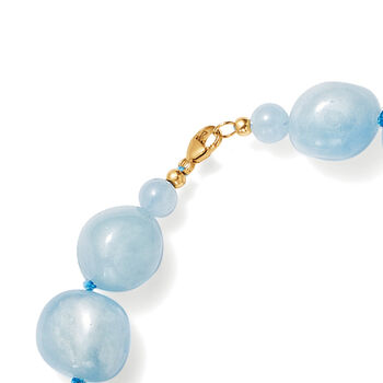 Aquamarine Bead Necklace with 14kt Yellow Gold, , default