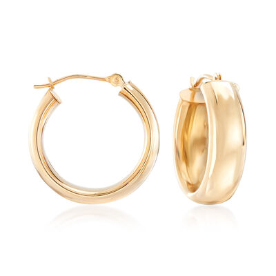 14kt Yellow Gold Classic Hoop Earrings, , default