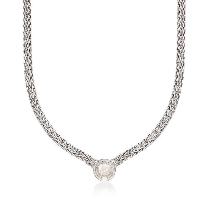 8mm Cultured Pearl Flat Wheat Chain Necklace in Sterling Silver