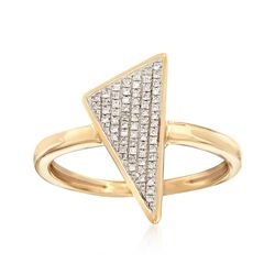 14kt Yellow Gold Triangle Ring With Pave Diamond Accents, , default