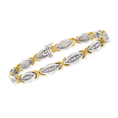 1.00 ct. t.w. Diamond X Station Bracelet in Two-Tone Sterling Silver