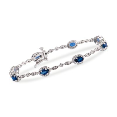 2.50 ct. t.w. Oval Sapphire Bracelet With Diamond Accents in 14kt White Gold, , default