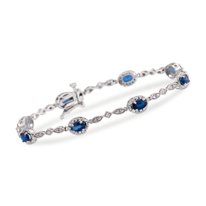 "2.80 ct. t.w. Oval Sapphire Bracelet with Diamond Accents in 14kt White Gold. 7.75"", , default"