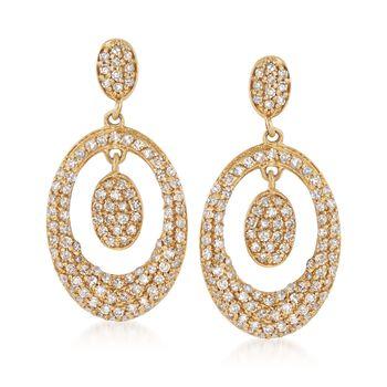 .58 ct. t.w. Diamond Oval Drop Earrings in 14kt Yellow Gold, , default
