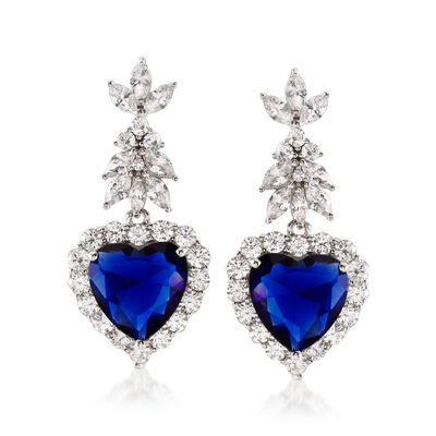 14.50 ct. t.w. Simulated Sapphire and 5.26 ct. t.w. CZ Heart Drop Earrings in Sterling Silver, , default