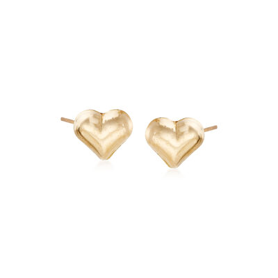 Child's 14kt Yellow Gold Heart Stud Earrings, , default