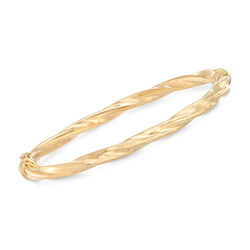 Italian 14kt Yellow Gold Twisted Bangle Bracelet, , default
