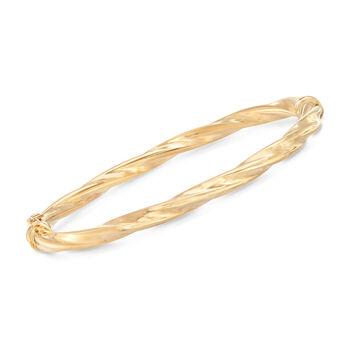 "Italian 14kt Yellow Gold Twisted Bangle Bracelet. 7.5"", , default"