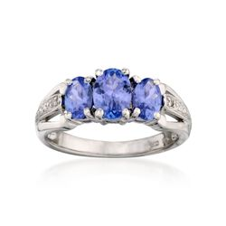 1.50 ct. t.w. Tanzanite Three-Stone Ring With Diamonds in Sterling Silver, , default
