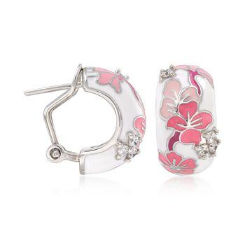 "Belle Etoile ""Constellations: Sakura"" Pink Enamel and .24 ct. t.w. CZ Earrings in Sterling Silver. 5/8"", , default"