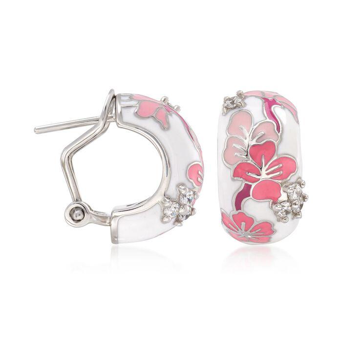 """Belle Etoile """"Constellations: Sakura"""" Pink Enamel and .24 ct. t.w. CZ Half-Hoop Earrings in Sterling Silver"""
