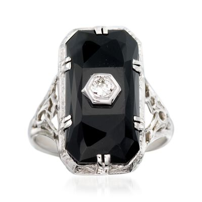 C. 1950 Vintage Faceted Black Onyx Ring with Diamond Accents in 18kt White Gold