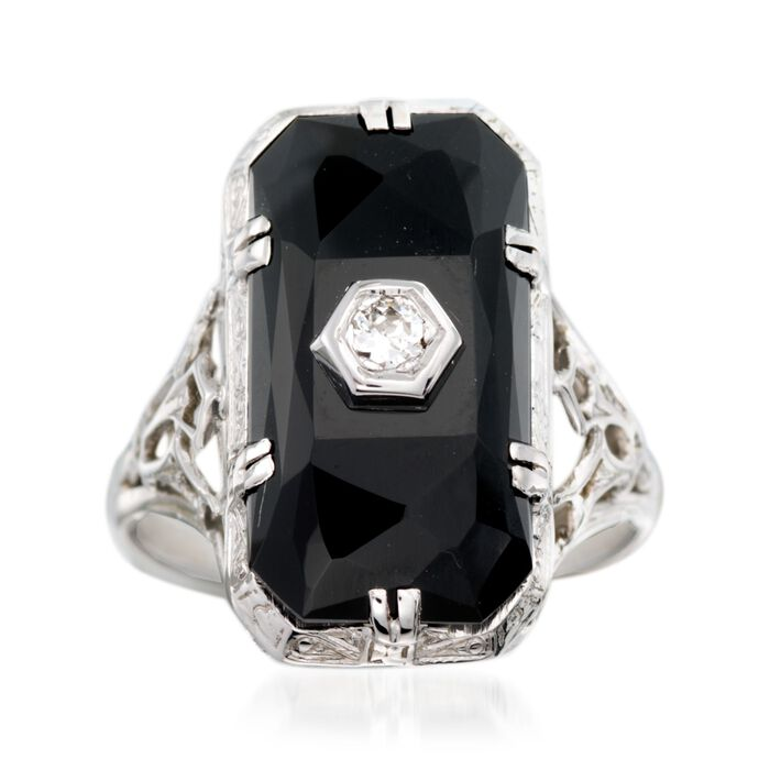 C. 1950 Vintage Faceted Black Onyx Ring with Diamond Accents in 18kt White Gold. Size 5.25