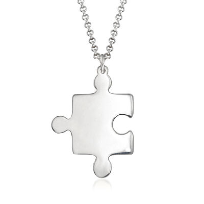 Sterling Silver Puzzle Piece Necklace, , default