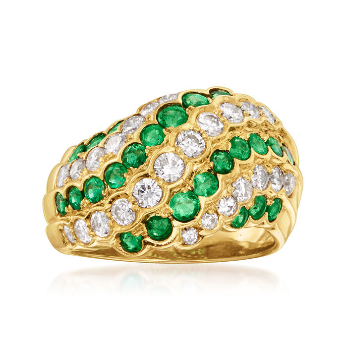 C. 1980 Vintage 1.05 ct. t.w. Diamond and 1.04 ct. t.w. Emerald Swirl Ring in 18kt Yellow Gold